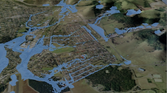 Screenshot of urban flooding using ANUGA